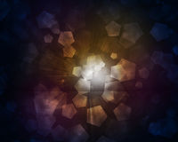 Glow multicolor pentagons on dark background Stock Photos