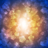 Glow multicolor pentagons on dark background Stock Photography