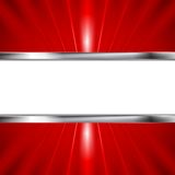 Glow red beams and metallic banner Royalty Free Stock Image