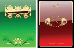 Glow Red And Green Royal Ornate Banner. Royalty Free Stock Photo