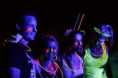 Glow Run Port Elizabeth 2014 South Africa. A 5km walk /fun run / party / concert brimming with neon lights and fluorescent paint. Revelers took to the streets of Stock Image