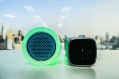 Glow speaker in green color and portable wireless speak Stock Image