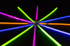 Glow sticks fluorescent lights Royalty Free Stock Image