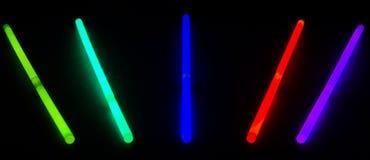 Glow Sticks Lines. Glow stick lines on black dark background royalty free stock photos