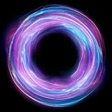Glow swirl light effect. Circular lens flare. Abstract rotational lines. Power energy element. Luminous sci-fi. Shining. Neon lights cosmic abstract frame vector illustration