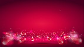Glow wave or light aura on red bokeh background. Abstract decorative elements for design uses. Bright radial effect with. Flying elements of pomegranate with royalty free illustration