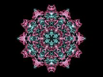 Glowing abstarct flame mandala flower in pink and turquoise colo. Rs, ornamental round pattern on black background vector illustration