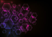 Glowing Abstract Background with Hexagons Stock Image