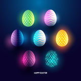Glowing abstract easter eggs. A set of glowing abstract easter egg holiday designs. Vector illustration Royalty Free Stock Image