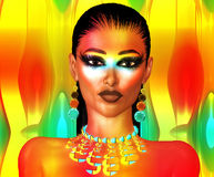 Glowing Abstract Face,Close Up. A glowing face of beauty stands out against a colorful abstract background.  Her matching makeup, jewelry and wet hair complete Royalty Free Stock Photos