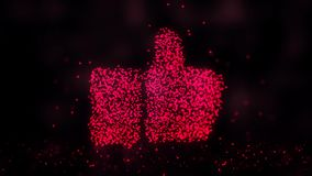Glowing abstract Like sign, Like symbol made of red particles. Abstract night background vector illustration