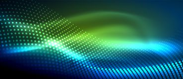 Glowing abstract wave on dark, shiny motion. Magic space light. Vector techno abstract background, green and blue colors Stock Photography