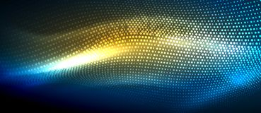 Glowing abstract wave on dark, shiny motion. Magic space light. Vector techno abstract background, blue and yellow colors Stock Photos
