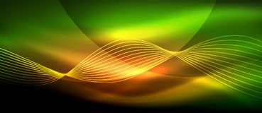 Glowing abstract wave on dark, shiny motion, magic space light. Techno abstract background Stock Image