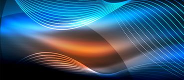 Glowing abstract wave on dark, shiny motion, magic space light. Techno abstract background Stock Photo
