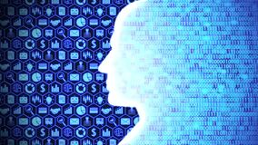 Glowing AI/Human Head Silhouette Computing and Thinking Business and Technology including Icon Set and Binary Code Background