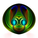 Glowing alien happy face. Abstract fractal image resembling a glowing alien happy face Stock Photo