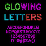 Glowing alphabet / neon glow font. Royalty Free Stock Photo