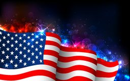 Glowing American Flag. Illustration of American Flag on abstract glowing background Royalty Free Stock Photos