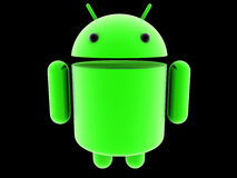 Glowing Android 3D logo Royalty Free Stock Image