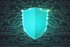 Glowing antivirus shield background Royalty Free Stock Photography