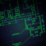 Glowing architectural drawings on dark background Royalty Free Stock Images