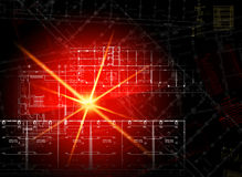 Glowing architectural drawings on dark background Royalty Free Stock Photography