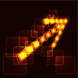 Glowing arrow. Glowing background with yellow arrow royalty free illustration