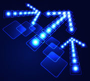 Glowing arrow. Glowing background with blue arrow Stock Photography