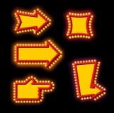 Glowing arrow with blub set. Luminous pointer. Retro cursor with Stock Photo