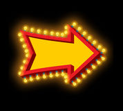 Glowing arrow with lamps. Luminous pointer. Retro cursor with li Royalty Free Stock Photos