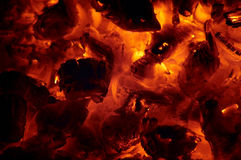 Glowing ashes - embers Royalty Free Stock Image