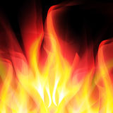 Glowing background with bright fire. On black. For the design of covers and business cards, web design Stock Image
