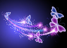 Glowing background with butterflies. And stars Royalty Free Stock Photo
