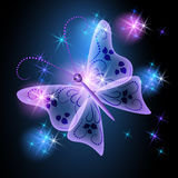 Glowing background with butterfly Stock Images