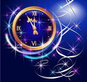 Glowing background with chimes and stars. Glowing background with clock and stars Royalty Free Stock Images