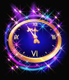 Glowing background with chimes and stars. Glowing background with clock and stars Royalty Free Stock Photo