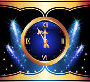Glowing background with clock. And stars Royalty Free Stock Photography