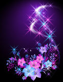 Glowing background with flowers. And stars Royalty Free Stock Photography