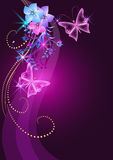 Glowing background with flowers. Butterfly and stars Royalty Free Stock Photography