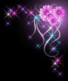 Glowing background with flowers. And stars Royalty Free Stock Photos