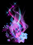Glowing background with flowers. Smoke and stars Royalty Free Stock Photos
