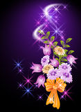 Glowing background with flowers. Magic glowing background with flowers and stars Royalty Free Stock Image
