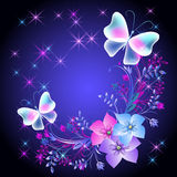 Glowing background with flowers and butterflies Stock Images