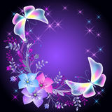 Glowing background with flowers and butterflies Royalty Free Stock Photo