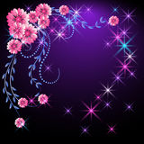 Glowing background with flowers and stars. Glowing background with pink flowers and stars Royalty Free Stock Photo