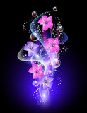 Glowing background with flowers and stars. Glowing background with flowers, smoke and stars Stock Photos
