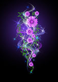 Glowing background with flowers and stars Royalty Free Stock Photos