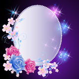 Glowing background with frame and flowers Stock Photos
