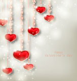 Glowing Background with Hanging Hearts for Valentine Day Stock Photography